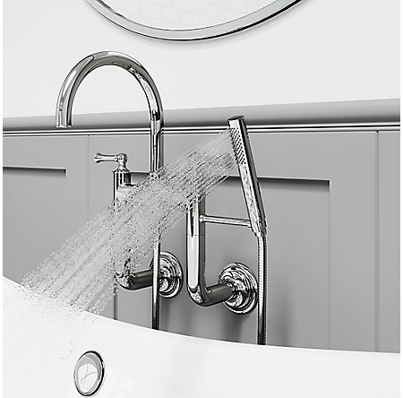 Polished Chrome Tisbury Wall Mounted Tub Filler - LG6-3TBC - 4