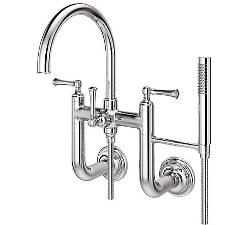 Polished Chrome Tisbury Wall Mounted Tub Filler - LG6-3TBC - 1