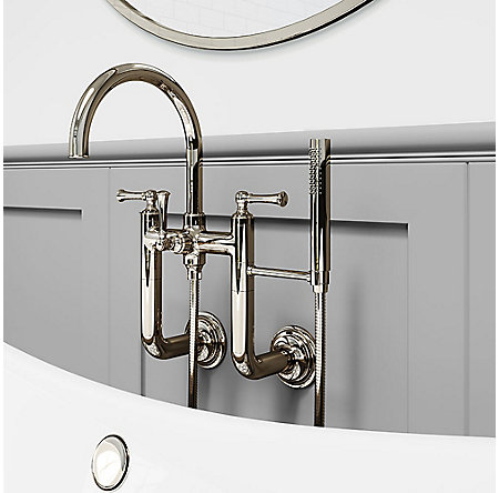 Polished Nickel Tisbury Wall Mounted Tub Filler - LG6-3TBD - 2