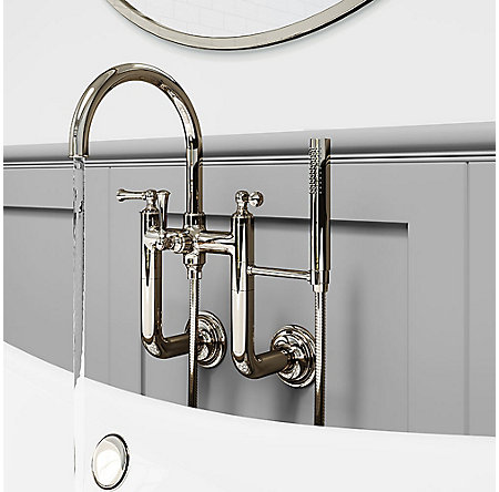 Polished Nickel Tisbury Wall Mounted Tub Filler - LG6-3TBD - 3