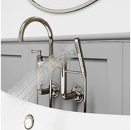 Polished Nickel Tisbury Wall Mounted Tub Filler - LG6-3TBD - 4