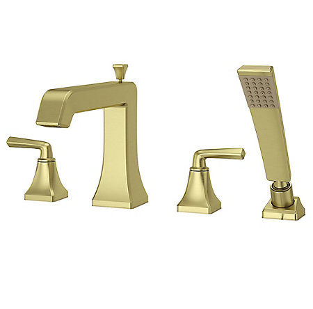 Brushed Gold Park Avenue 4-Hole Roman Tub with Handshower, Trim Only - LG6-4FEBG - 1