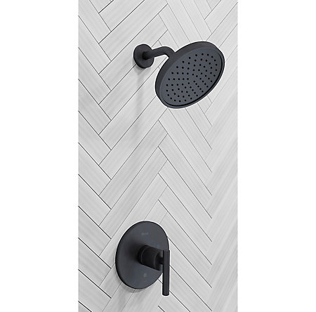 Black Contempra 1-Handle Shower, Trim Only - LG89-7NCB - 2