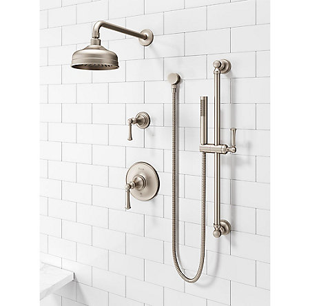 Brushed Nickel Tisbury Slide Bar Kit with Hand Shower - LG16-3TBK - 2