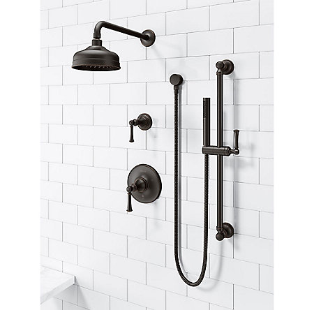 Tuscan Bronze Tisbury Slide Bar Kit with Hand Shower - LG16-3TBY - 2