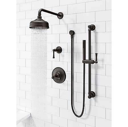 Tuscan Bronze Tisbury Slide Bar Kit with Hand Shower - LG16-3TBY - 3