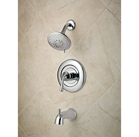 Polished Chrome Universal 1-Handle Tub & Shower, Trim Only - R90-TN1C - 2