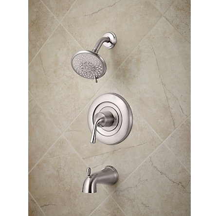 Brushed Stainless Steel Universal 1-Handle Tub & Shower, Trim Only - R90-TN1K - 2