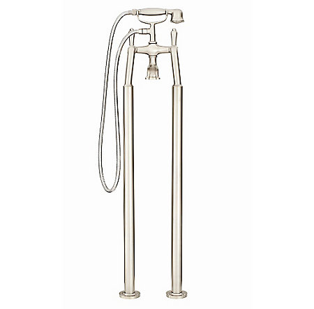 Brushed Nickel Traditional Free Standing Tub Filler - RT6-1TFK - 3