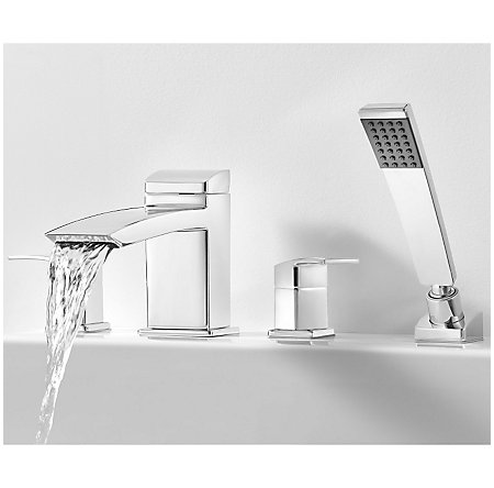Polished Chrome Kenzo 4-Hole Roman Tub With Handshower, Trim Only - RT6-4D1C - 3