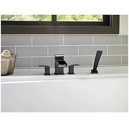 Black Kenzo 4-Hole Trough Roman Tub with Handshower, Trim Only - LG6-4DFB - 2