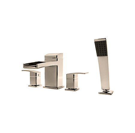 Polished Chrome Kenzo 4-Hole Trough Roman Tub with Handshower, Trim Only - LG6-4DFK - 1