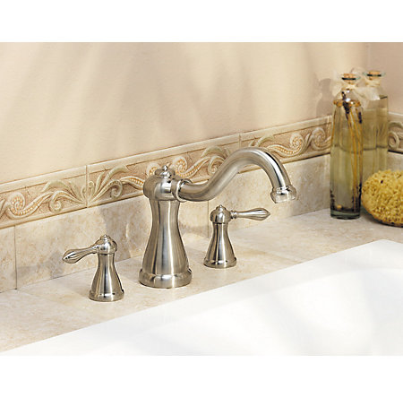 Brushed Nickel Marielle 3-Hole Roman Tub, Valve and Handle Not Included - RT6-5MXK - 2