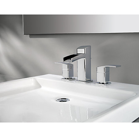 Polished Chrome Kenzo Widespread Bath Faucet - T49-DF0C - 3