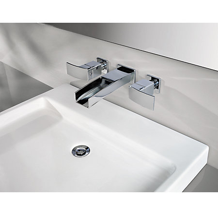Polished Chrome Kenzo Wall Mount Widespread Trough Bath Faucet - T49-DF1C - 10