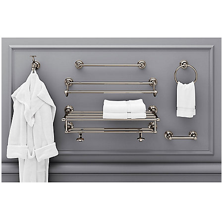 "Polished Nickel Tisbury 18"" Towel Rack - BTB-TB1D - 2"