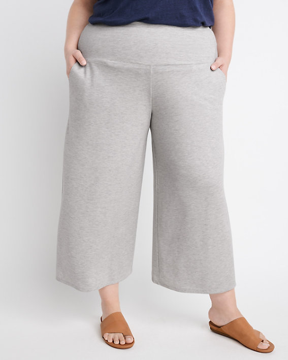 Wide-Leg Cropped Knit Pants