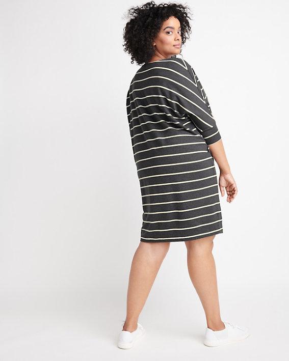 A casual striped plus size t-shirt dress