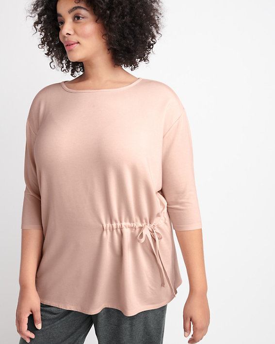 A unique cinched-front plus size swing tee shirt.