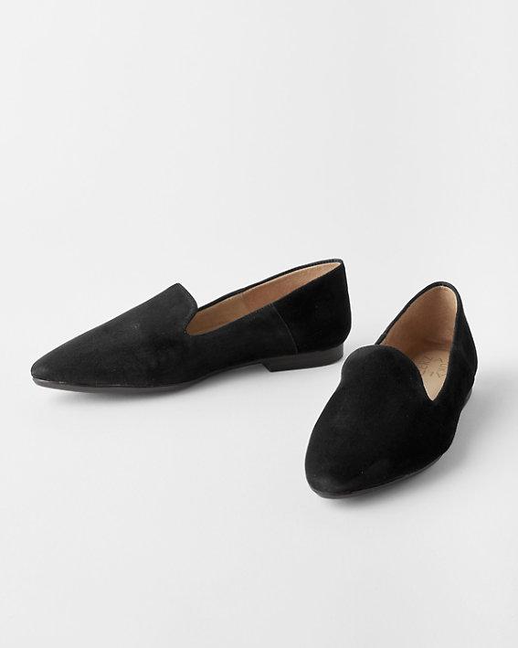 A pair of black, velvet Naturalizer slippers