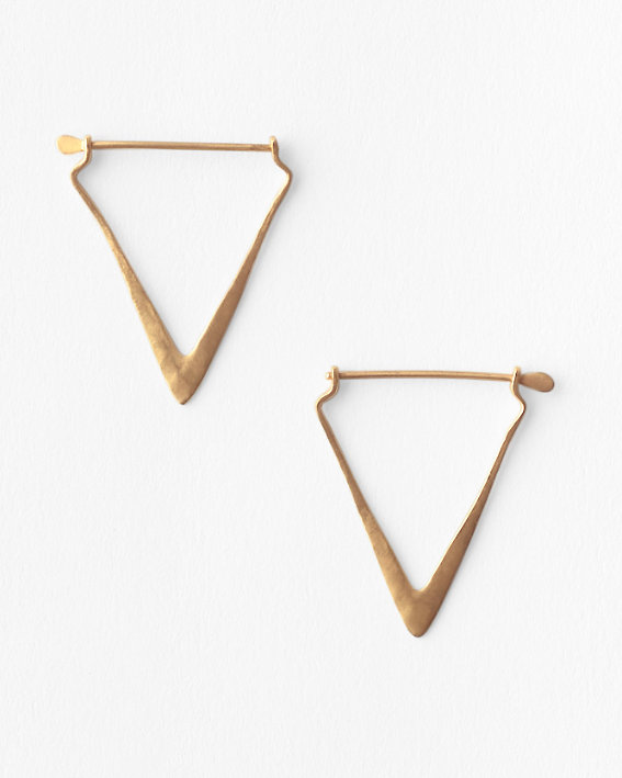 Elegant and simple gold earrings in a triangle shape by Satya.