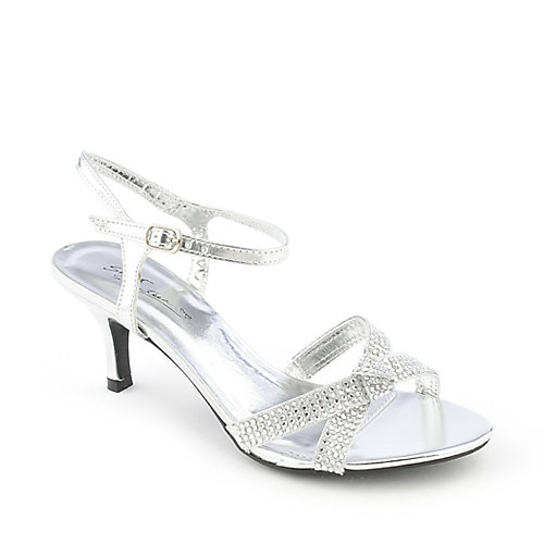 Sweet Seventeen Janne-05 silver low heel evening dress shoe