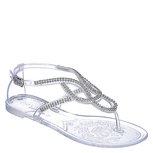 Glaze Womens Bahama 1 Clear Jeweled Jelly Flat Sandal