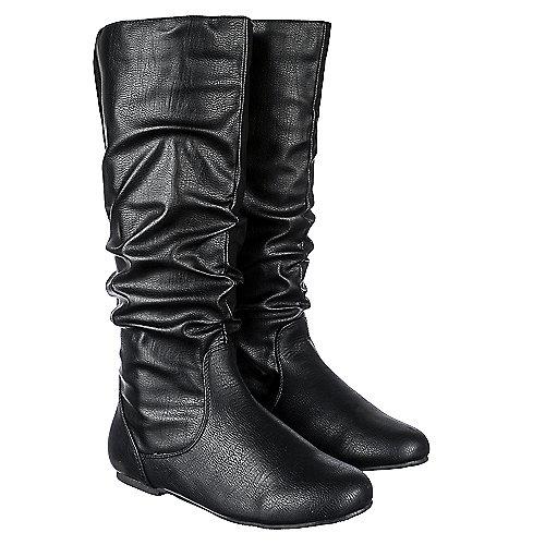 Shiekh Kalisa 89 Women S Black Pu Mid Calf Boot Shiekh Shoes