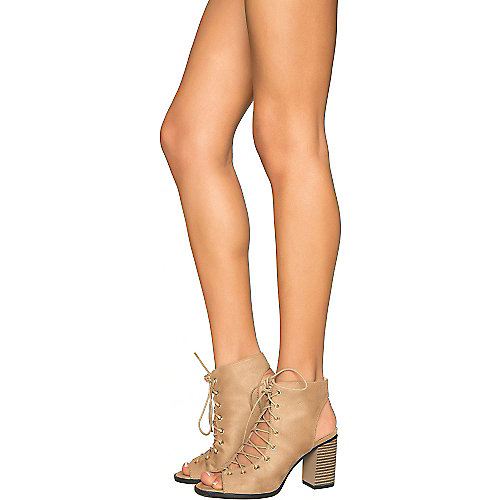 11a8032f80e9 Nude Women s Carrie-5 Lace-Up Low Heel Bootie