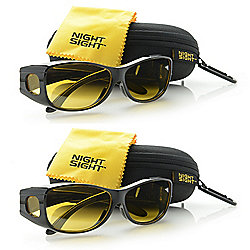 a707f5214e Night Sight Deluxe Set of 2 Unisex 68mm Polarized Night Driving Glasses w   Hard-