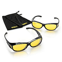 7860cfe431d Night Sight Unisex Set of 2 (68mm) Polarized Night Driving Glasses w   Microfiber