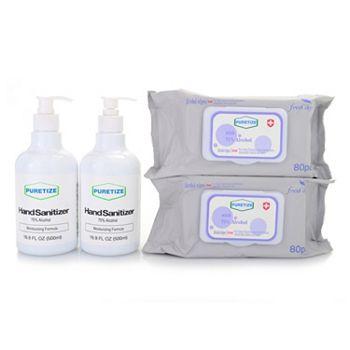 Value Sets - 002-780 Puretize Protective Bundle w 80 Count Wipes & 16.9 oz Sanitizer Duo - 002-780