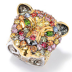 Gems en Vogue 4.06ctw Multi Color Sapphire & Chrome Diopside Panther Ring