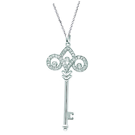 3bf77757baa8d Sterling Silver or 14K Rose or Yellow Gold Plated Diamond Large  Fleur-de-lis Key Pendant w/ Chain on sale at evine.com