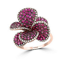 Effy 14K Rose Gold 2.33ctw Ruby & Diamond Flower Ring- Size 7