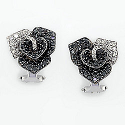 EFFY 14K White Gold 2.46ctw Black & White Diamond Flower Stud Earrings