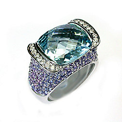 Sonia Bitton Galerie de Bijoux® 18K White Gold 10.92ctw Aquamarine, Sapphire & Diamond Ring