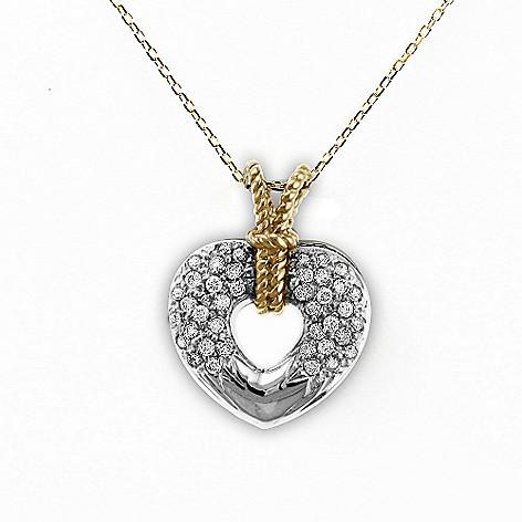 Sonia Bitton Galerie de Bijoux® 14K White & Yellow Gold 0 28ctw Diamond  Heart Pendant w/ Chain