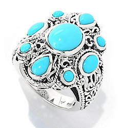 Artisan Silver by Samuel B. Sleeping Beauty Turquoise Textured Openwork Ring - 140-277