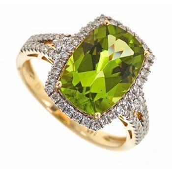 Web Exclusives 141-309 Fierra™ 14K Gold 4.82ctw Peridot & Diamond Cushion Ring - Size 7 - 141-309