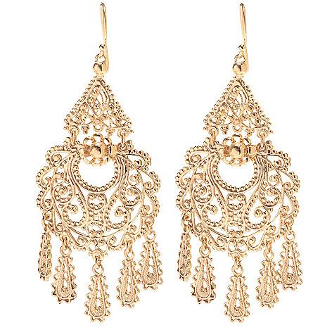Antalia Turkish Jewelry 18k Gold Embraced 3 Dangling Charm Filigree Earrings