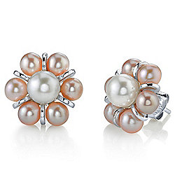Radiance Pearl Sterling Silver 4mm Multi Colored Freshwater Cultured Pearl Earrings