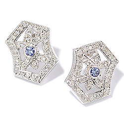 "EFFY ""Tanzanite Royale"" 14K White Gold 0.85ctw Diamond & Tanzanite Earrings"