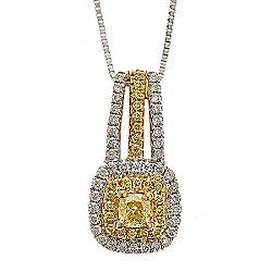 Fierra™ 18K White & Yellow Gold 0.44ctw Diamond Pendant w 18 Chain - 145-805