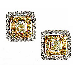 Fierra™ 18K White & Yellow Gold 1.17ctw Diamond Stud Earrings