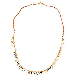 "41.5"" Fringe & Wooden Bead Toggle Necklace"
