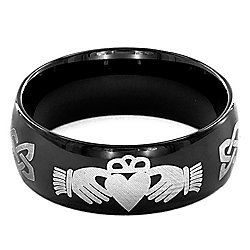 Steel Impact™ Men's Black Stainless Steel Claddagh Band Ring