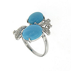 Samuel B. Collection 14K White Gold Sleeping Beauty Turquoise & Diamond Ring - Size 7