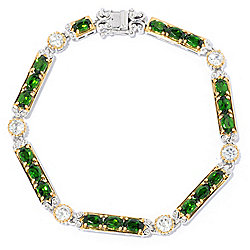 Gems en Vogue Chrome Diopside & White Zircon Fancy Link Bracelet