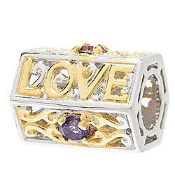 "Gems en Vogue Multi Gemstone ""Live, Laugh, Love"" Barrel Slide-on Charm"